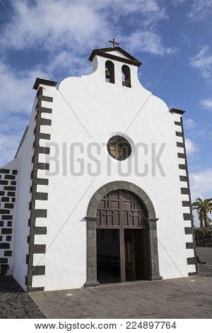 The Chapel Of La Ermita De Los Dolores Located In The Municipality Of Tinajo In Lanzarote, Spain.  E