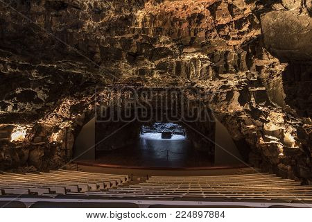 Lanzarote, Spain - January 18th 2018: The Spectacular View Of The Auditorium In The Lava Caves Of Ja