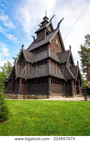 Oslo, Norway-August 13, 2014 - The Stave Church from Gol in Norwegian Folk Museum.