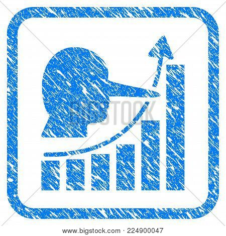 Lier Hyip Chart grungy textured icon inside rounded square for overlay watermark stamps. Flat symbol with scratched texture. Framed vector blue rubber seal stamp with grunge design of lier hyip chart.