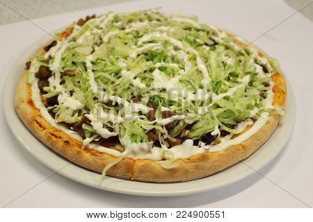 Kebab pizza isolated on white background. Kebab pizza.