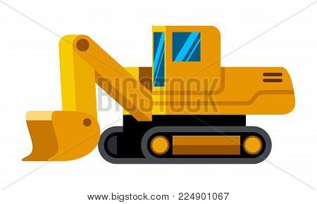 Front shovel excavator minimalistic icon isolated. Construction equipment isolated vector. Heavy equipment vehicle. Color icon illustration on white background.