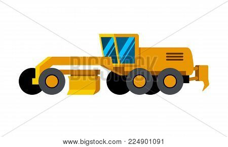 Motor grader minimalistic icon isolated. Construction equipment isolated vector. Heavy equipment vehicle. Color icon illustration on white background.