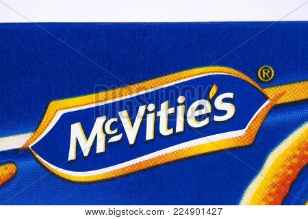 London, Uk - December 18th 2017: A Close-up Of The Mcvities Logo On A Packet Of Jaffa Cakes, On 18th