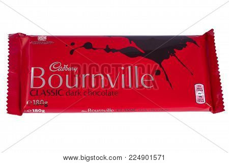 LONDON, UK - DECEMBER 18TH 2017: A Bournville chocolate bar, manufactured by Cadbury, on 18th December 2017.