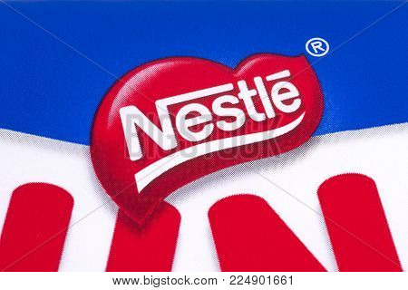 LONDON, UK - DECEMBER 18TH 2017: A close-up of the Nestle company logo, on 18th December 2017.  Nestle is a Swiss food and drink company.