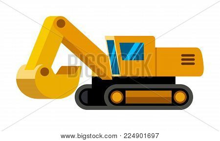 Tracked excavator minimalistic icon isolated. Construction equipment isolated vector. Heavy equipment vehicle. Color icon illustration on white background.