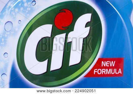 London, Uk - December 18th 2017: A Close-up Of The Cif Brand Logo, On 18th December 2017.  Cif Is A