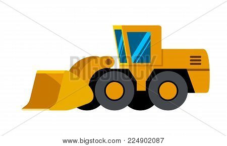 Wheel loader minimalistic icon isolated. Construction equipment isolated vector. Heavy equipment vehicle. Color icon illustration on white background.