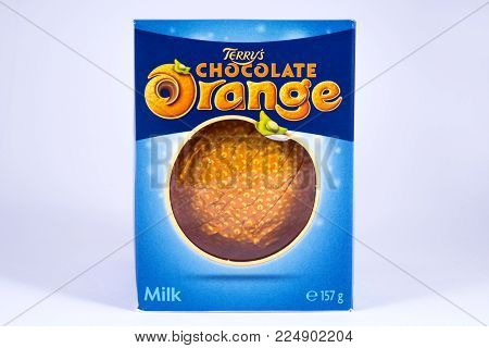 London, Uk - December 18th 2017: A Shot Of A Terrys Chocolate Orange, Over A Plain White Background,
