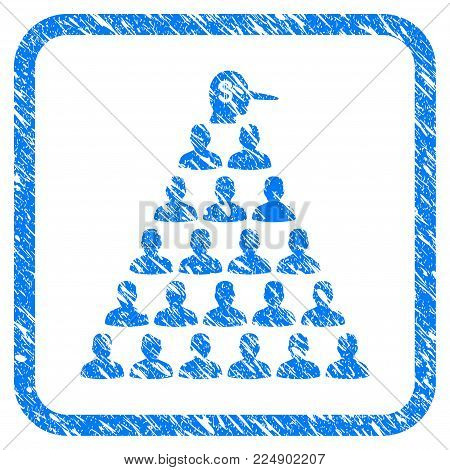 Ponzi Pyramid Manager scratched textured icon inside rounded frame for overlay watermark stamps. Flat symbol with dust texture.
