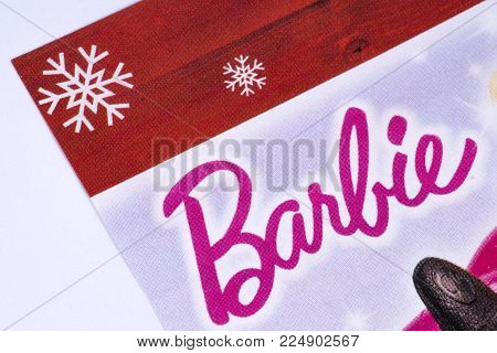 London, Uk - December 18th 2017: The Barbie Logo Printed In A Tesco Toys Catalogue, On 18th December