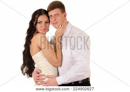 charming couple man and woman embrace isolated on white