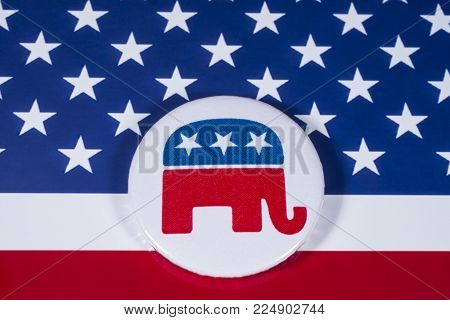London, Uk - December 18th 2017: The Elephant Symbol Of The Republican Party, With The American Flag