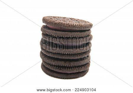 Oreo Cookies Cream Sandwich On White Background