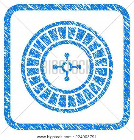 Roulette grunge textured icon inside rounded square for overlay watermark imitations. Flat symbol with unclean texture. Framed vector blue rubber seal stamp with grunge design of roulette.
