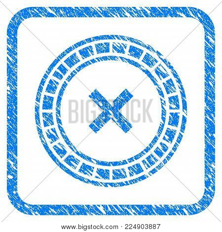 Roulette grunge textured icon inside rounded frame for overlay watermark stamps. Flat symbol with scratched texture. Framed vector blue rubber seal stamp with grunge design of roulette.
