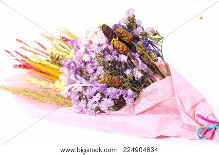 Close Up Of Bouquet Colorful Dry Flower And Dry Grass On White Background