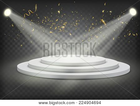 White round winners podium withgold confetti. Stage for awards ceremony. Pedestal. Spotlight.