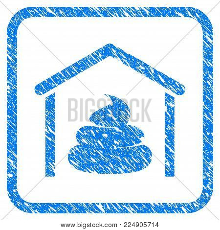 Shit Storage Hangar grunge textured icon inside rounded rectangle for overlay watermark imitations. Flat symbol with unclean texture.