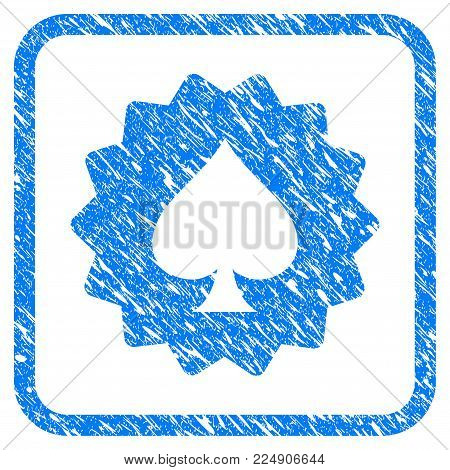 Spades Token grainy textured icon inside rounded rectangle for overlay watermark stamps. Flat symbol with dust texture. Framed vector blue rubber seal stamp with grunge design of spades token.