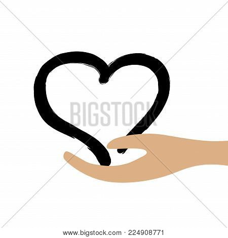 Black heart in hand sign. Concept of safety. Logo for romantic celebration or health. Mark of decoration for love holiday. Beautiful icon isolated on white background. Lovely save symbol. Stock vector