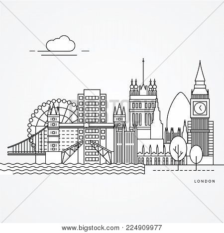Linear illustration of London, UK. Flat one line style. vector illustration. Architecture line cityscape with famous landmarks, city sights, design icons. Editable strokes