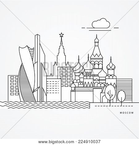 Linear illustration of Moscow, Russia. Flat one line style. vector illustration. Architecture line cityscape with famous landmarks, city sights, design icons. Editable strokes