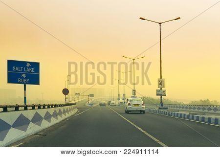 Rajarhat Newtown Road In Winter Morning, Kolkata, West Bengal, India
