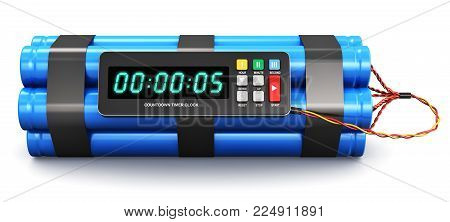 Creative abstract 3D render illustration of TNT time bomb explosive with digital electronic countdown timer clock isolated on white background
