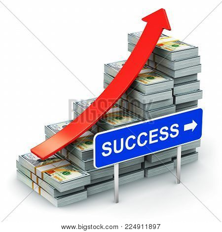 3D render illustration of the growing bar graph from the stacks of new 100 US dollar 2013 edition banknotes or bills with red arrow and blue success traffic road sign isolated on white background