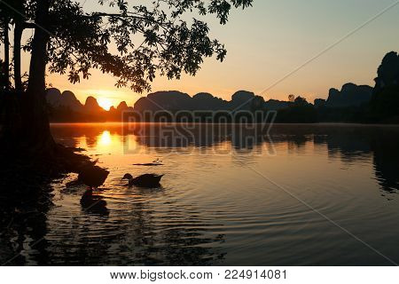 Morning sunrise scenery with ducks in the lake at ban nong thale krabi province thailand