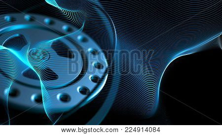 Blue background with gear wheels and lines waving. Abstract science, technology and engineering theme. Depth of field settings. 3D rendering