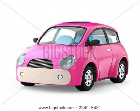 Small cute pink car isolated on white. 3d illustration
