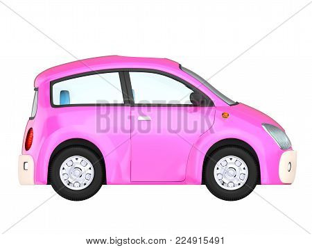 Small cute pinkcar side view isolated on white. 3d illustration
