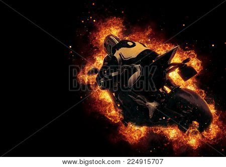 Motorbike rider engulfed in fire and flames as he speeds along on his motorbike with exploding sparks filling the dark background and copy space. 3d Rendering