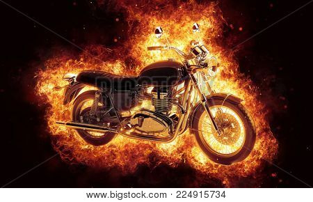 Dramatic fine art of a burning motorcycle engulfed in fiery orange hot flames and shooting sparks over a dark background. 3d Rendering