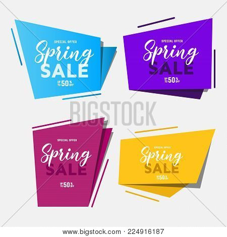 Origami box:spring sale. Vector abstract geometric origami