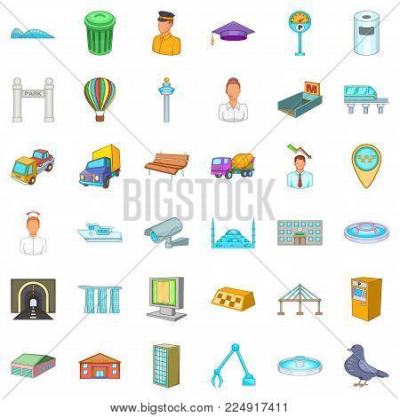 Metropolitan icons set. Cartoon set of 36 metropolitan vector icons for web isolated on white background