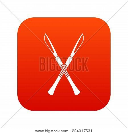 Surgeon scalpels icon digital red for any design isolated on white vector illustration