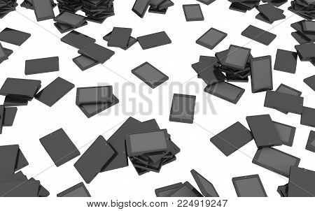 Electronic tablet devices turned off, 3d illustration, horizontal background, over white