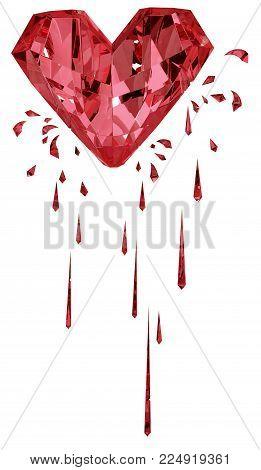 Ruby red gem bleeding heart surreal 3d illustration, vertical, isolated, over white