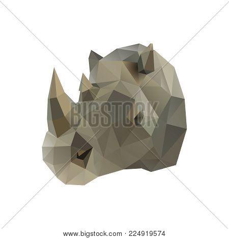 Low poly illustration. Rhino head. Polygonal art