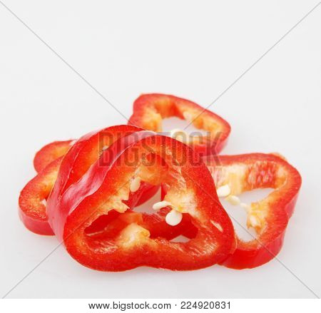 Sliced Red Pepper Color Image Stock Photos