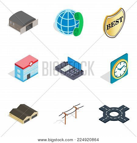 Export icons set. Isometric set of 9 export icons for web isolated on white background