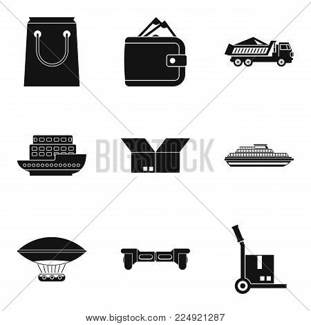 Export item icons set. Simple set of 9 export item vector icons for web isolated on white background