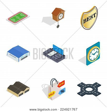 Big supply icons set. Isometric set of 9 big supply icons for web isolated on white background