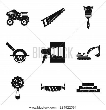 Dump truck icons set. Simple set of 9 dump truck vector icons for web isolated on white background