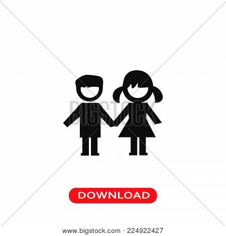 Kids couple icon vector in modern flat style for web, graphic and mobile design. Kids couple icon vector isolated on white background. Kids couple icon vector illustration, editable stroke and EPS10. Kids couple icon vector simple symbol for app, logo, UI