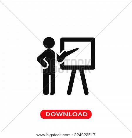Teacher icon vector in modern flat style for web, graphic and mobile design. Teacher icon vector isolated on white background. Teacher icon vector illustration, editable stroke and EPS10. Teacher icon vector simple symbol for app, logo, UI.